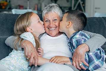 grandmother and grandchildren together